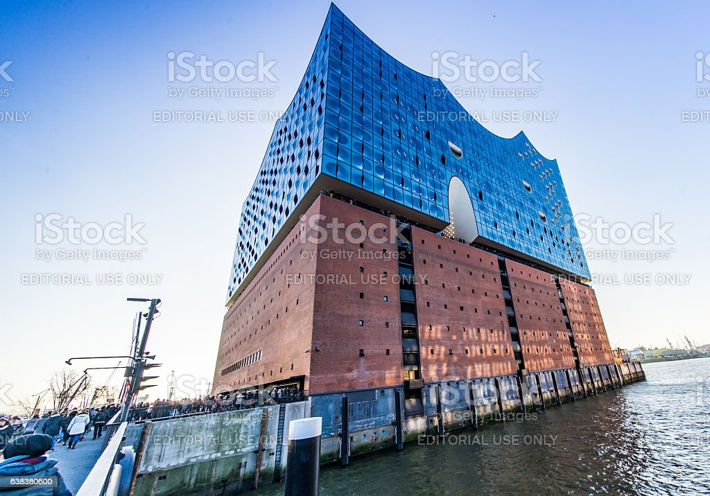 River and Elbphilharmonie at sunset in Hamburg stock photo