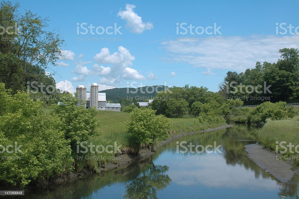 River and Farm in Vermont royalty-free stock photo
