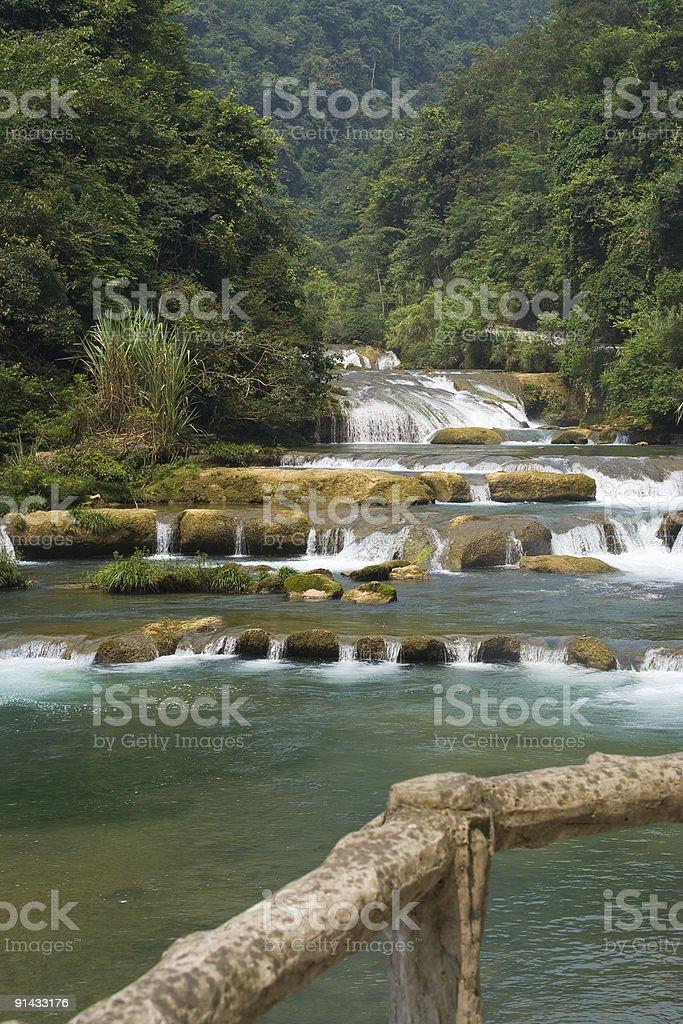 River and guardrail at Libo, China stock photo