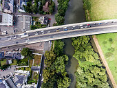 River and highway crossing dutch town, aerial view
