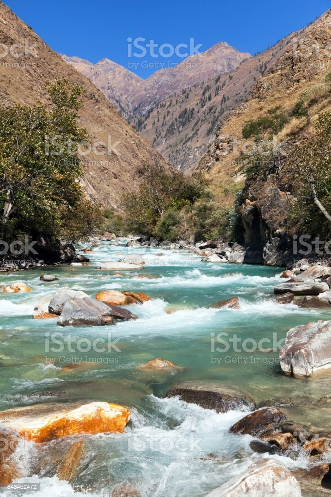 River and in western Wepal stock photo