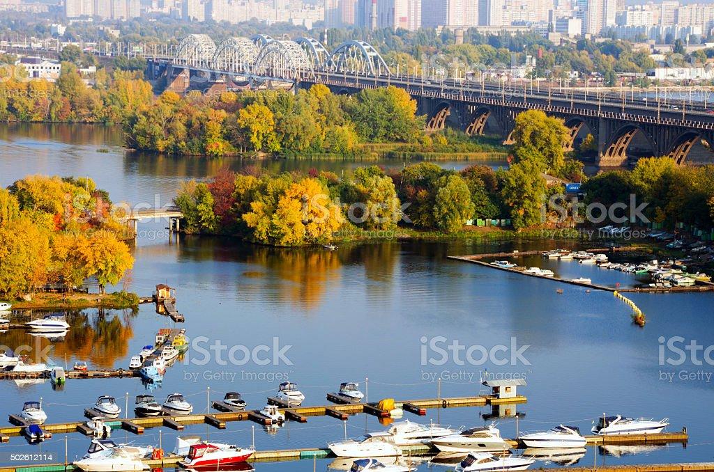 River and Kiev railway bridge, autumn, nature stock photo