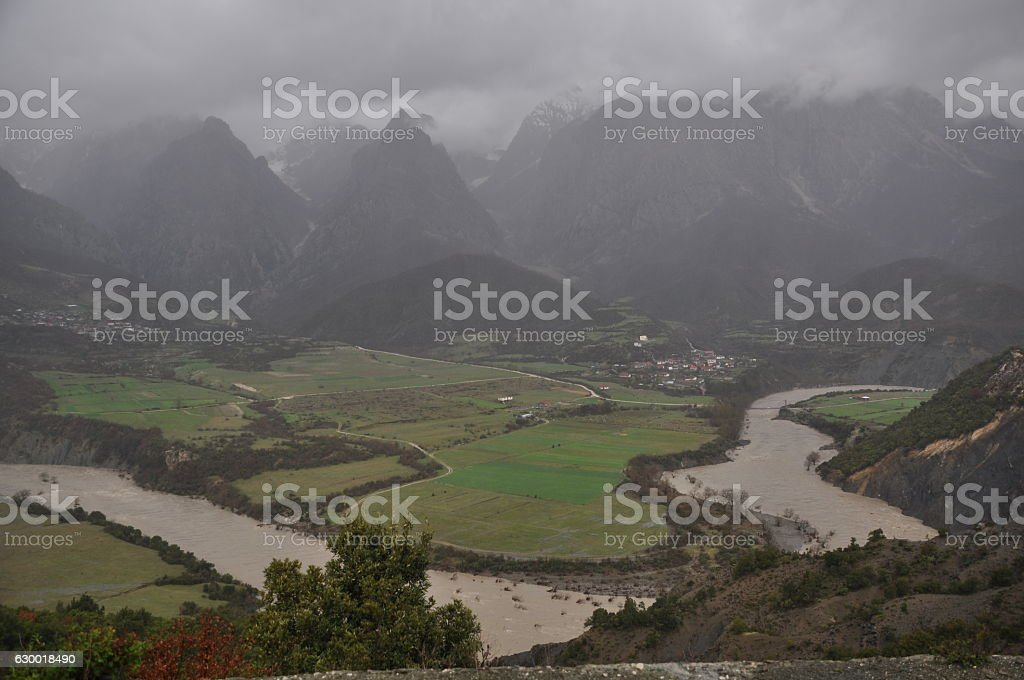 River and landscape in Southern Albania stock photo