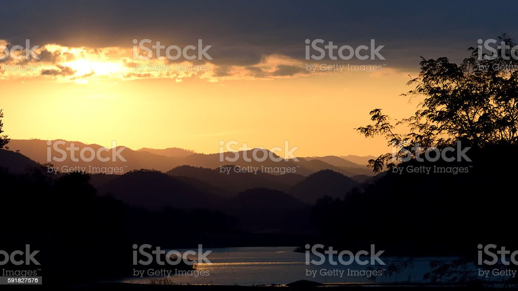river and mountain landscape in the evening time stock photo
