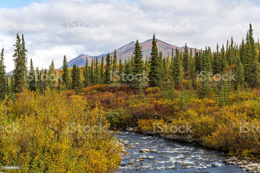 River and mountains in Alaska stock photo