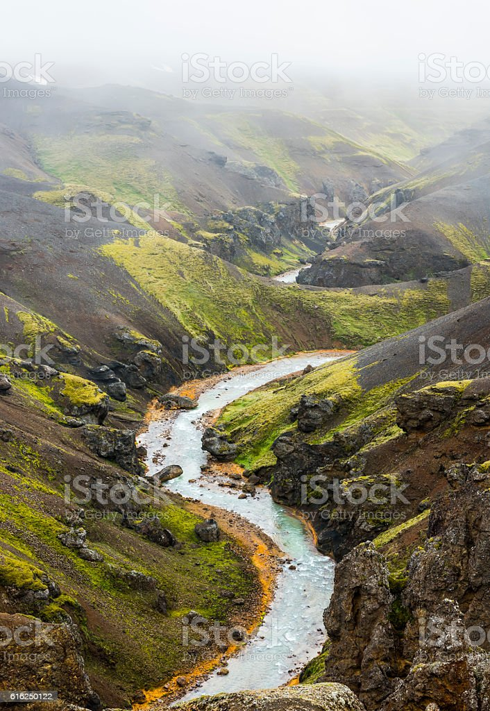 River and Mountains Kerlingarfjoll Iceland stock photo
