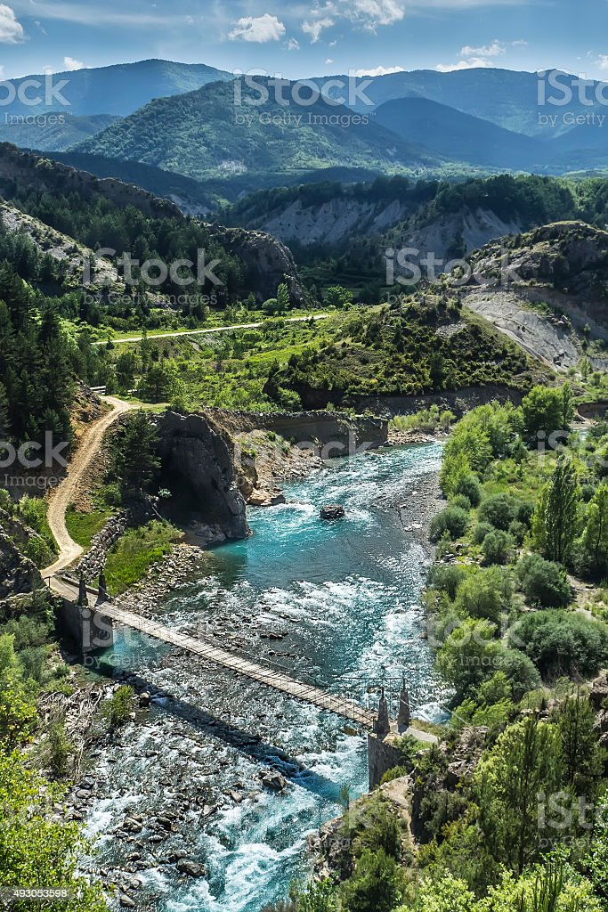 river and mountains landscape stock photo
