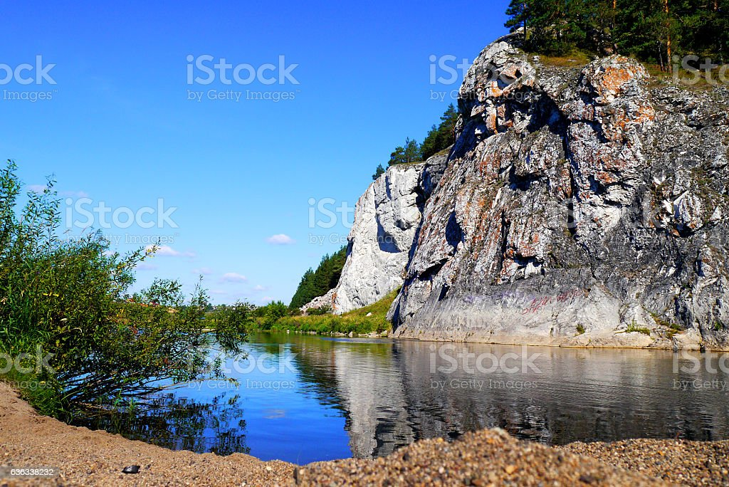 river and mountains stock photo