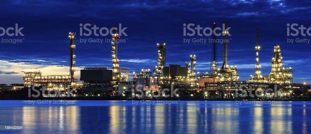 River and oil refinery factory in Bangkok, Thailand. royalty-free stock photo