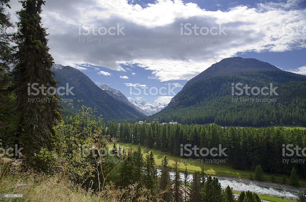 River and snow-capped mountain royalty-free stock photo