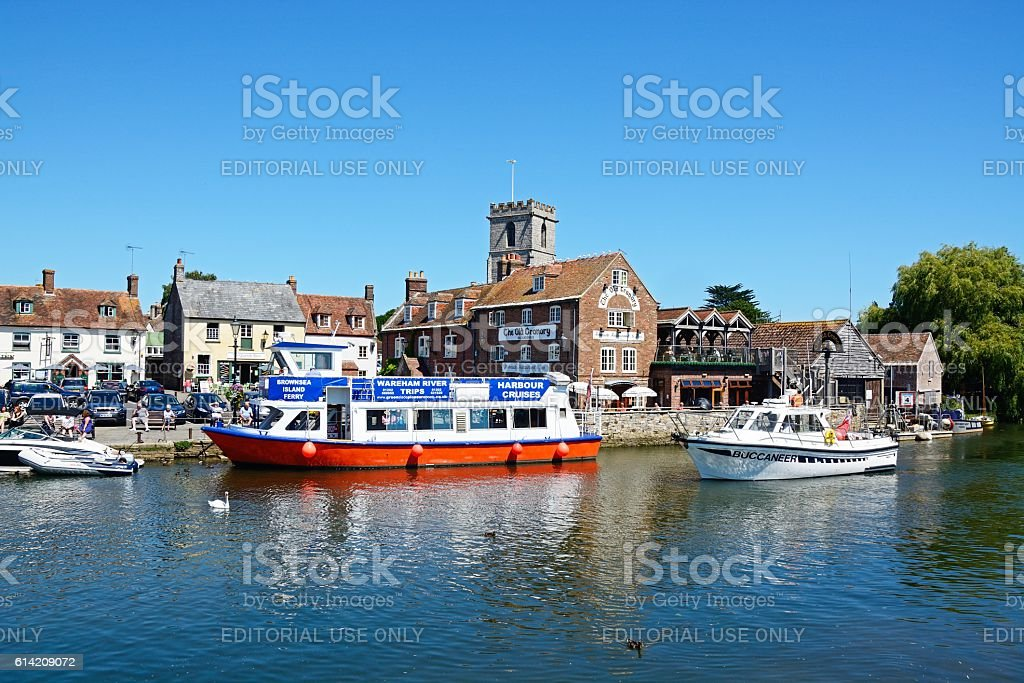 River and The Quay buildings, Wareham. stock photo