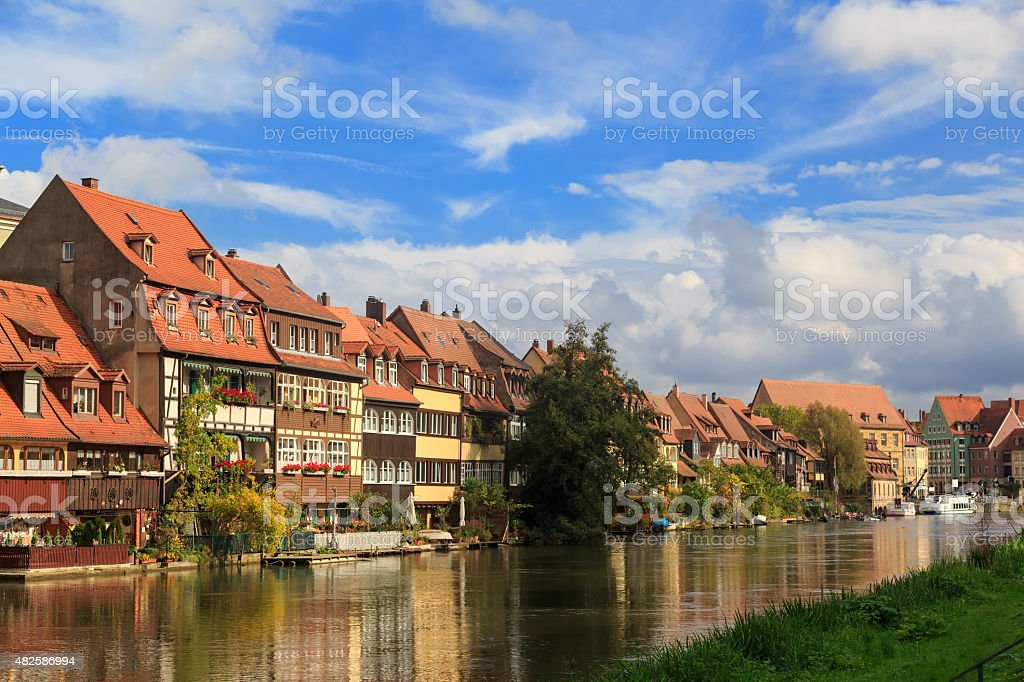 River and vintage houses in Bamberg stock photo