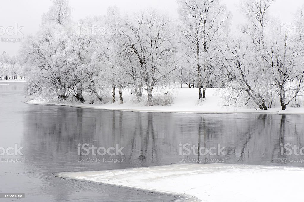 River and winter landscape royalty-free stock photo