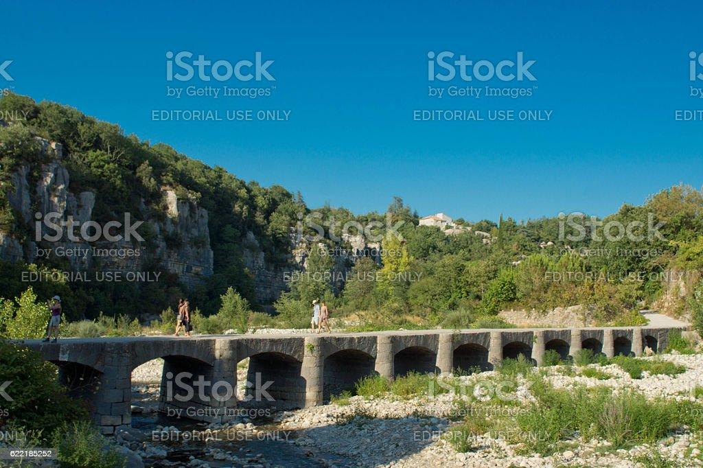 River Ardeche in Vallon Pont D'Arc stock photo