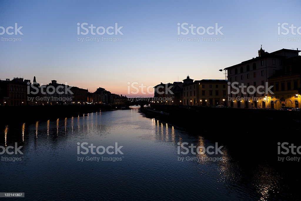 River Arno at sunset stock photo