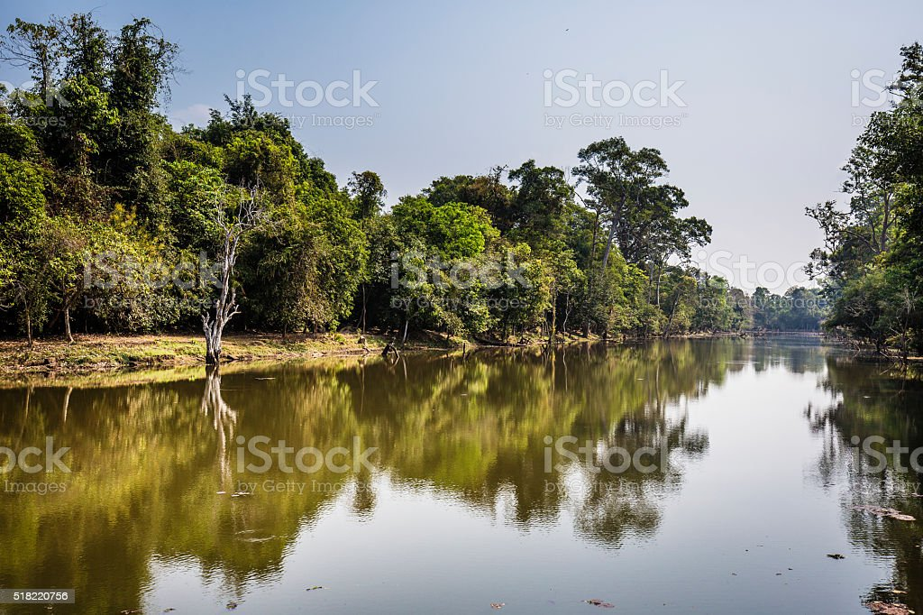 River at the entrance of Preah Khan temples Cambodia stock photo