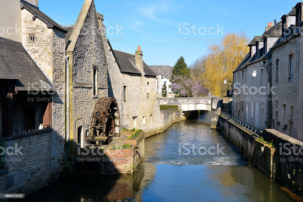 River Aure at Bayeux in France stock photo