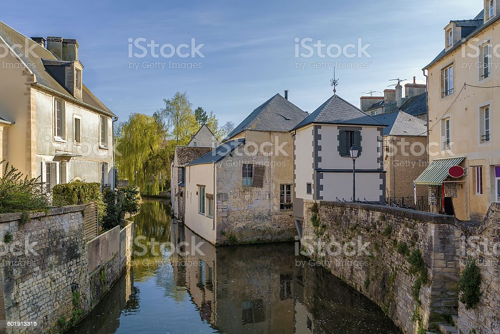 River Aure in Bayeux, France stock photo