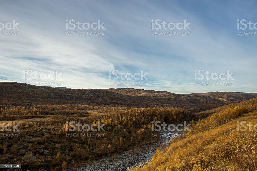 River & Autumn Landscape stock photo