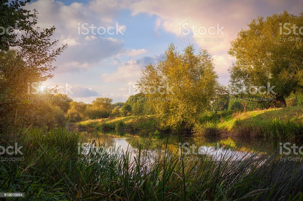 River Avon at dusk, Welford on Avon, Stratford upon Avon, Warwickshire, England stock photo