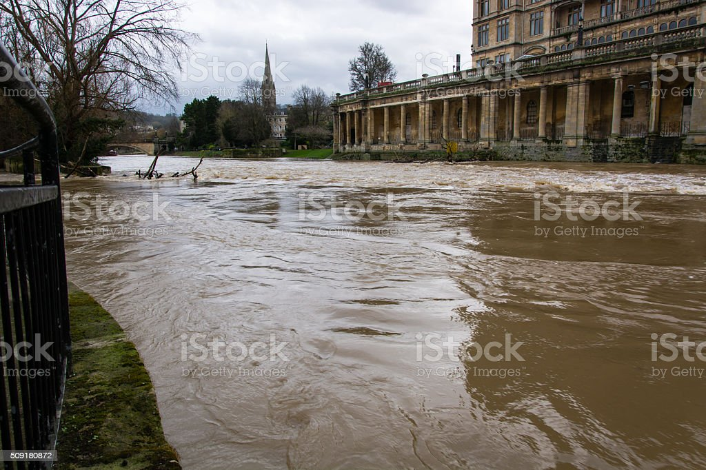 River Avon through Bath at very high level stock photo