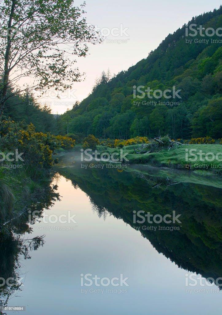 River Avondberg at sunset, mysterious atmosphere, Ireland stock photo