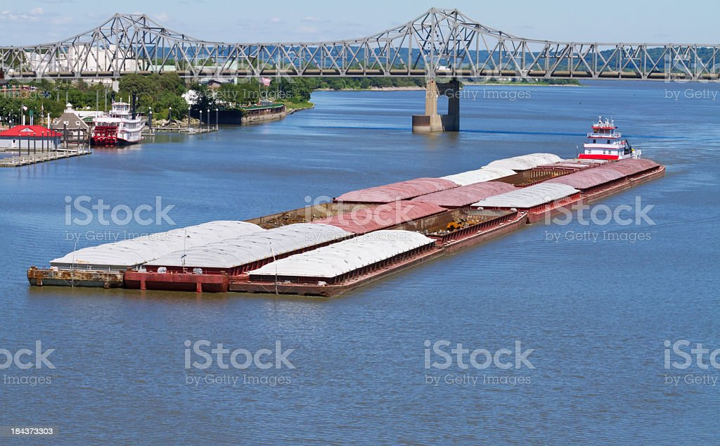 A river barge floating down the river stock photo