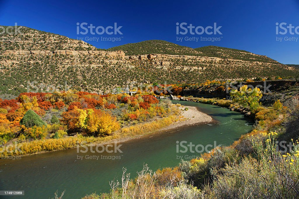 river bend autumn trees and mesa landscape stock photo