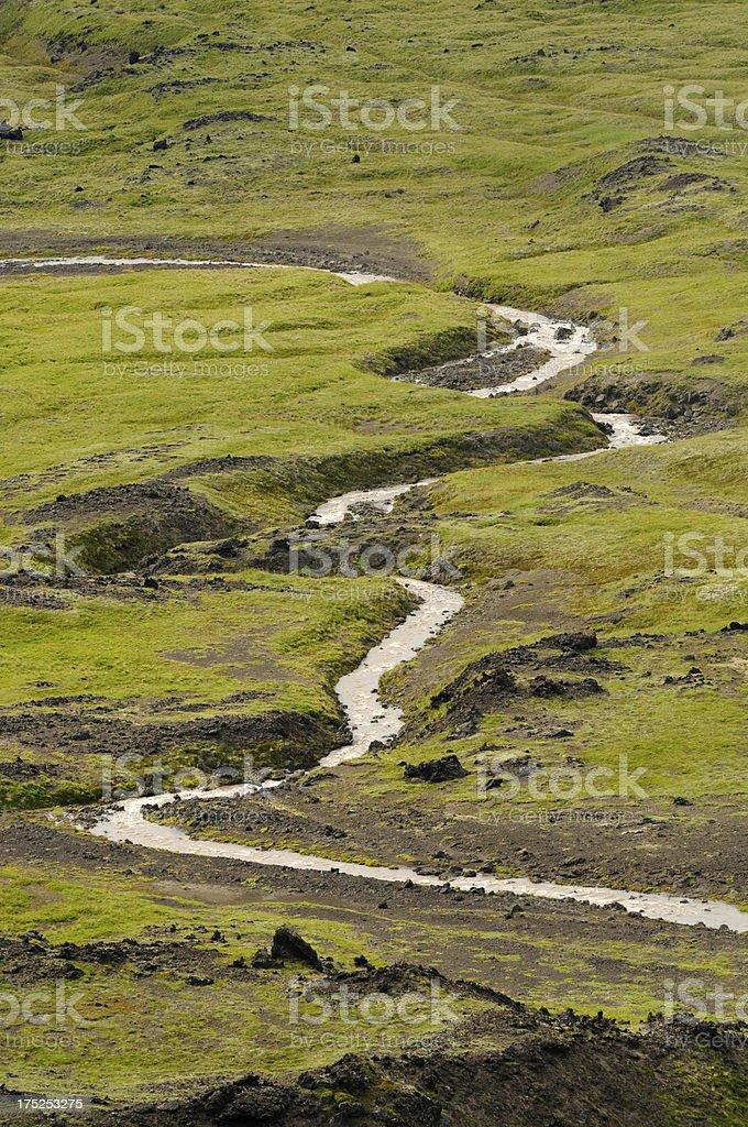 River bend in aerial Kamchatka landscape stock photo