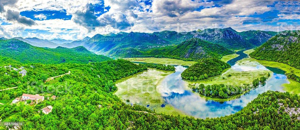 River bend of the Rijeka Crnojevica River, Skadar Lake stock photo