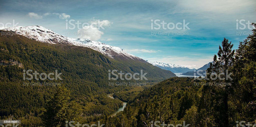 river between mountains in esquel argentina patagonia stock photo