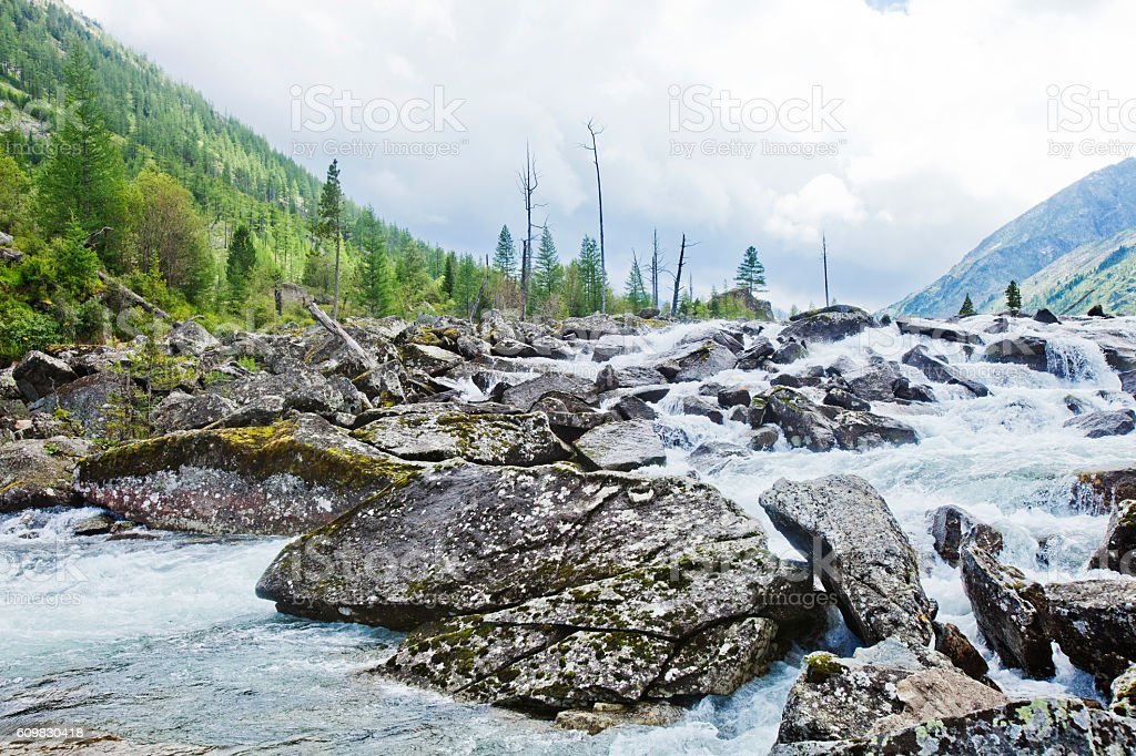River between the Middle and Lower Multinskiye lakes called 'Noise' stock photo