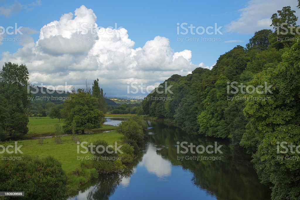 River Blackwater with blue skies and cloud - Ireland stock photo