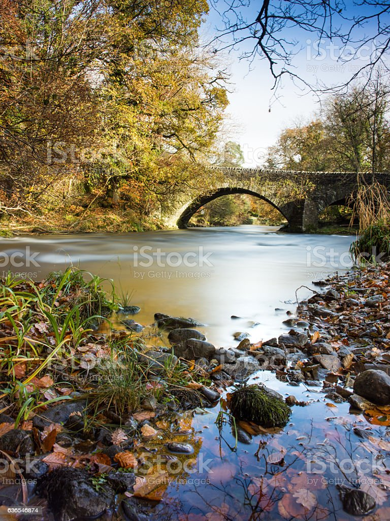 River Brathay and autumn trees in the Lake District stock photo