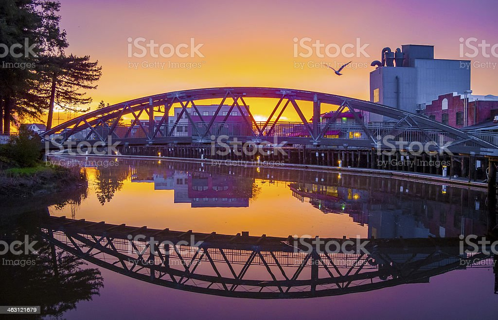 River Bridge Dawn stock photo