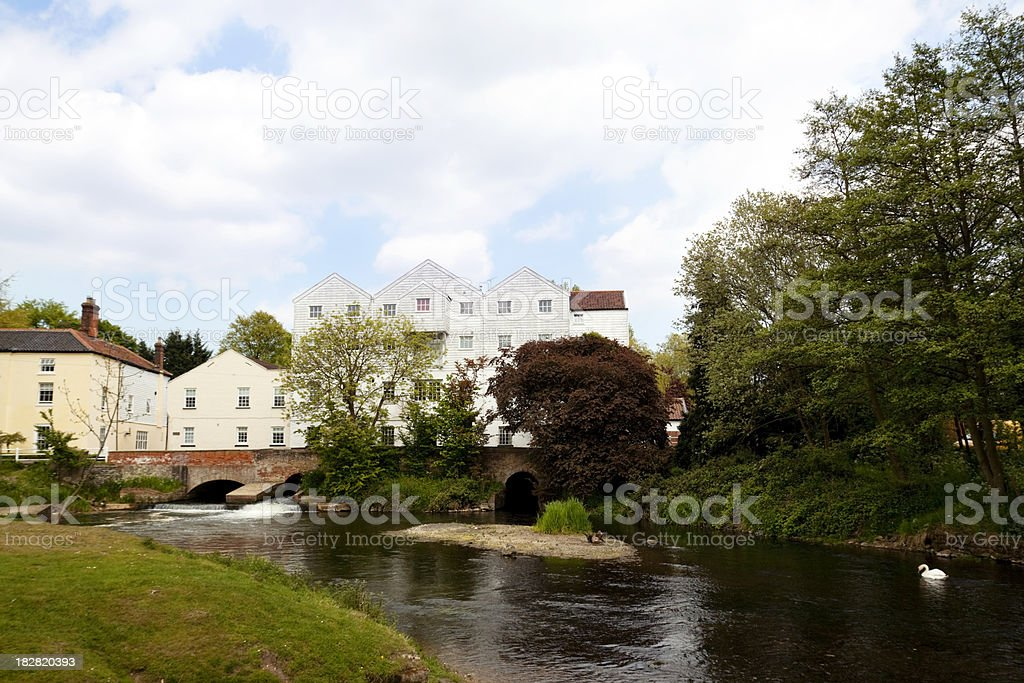 River Bure at Buxton Mill, Norfolk, with swan stock photo