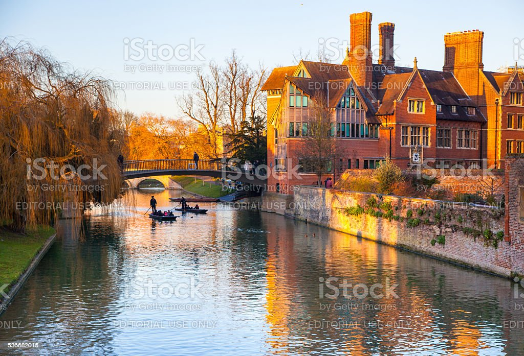 River Cam and tourist's boats in sunset light,  Cambridge stock photo