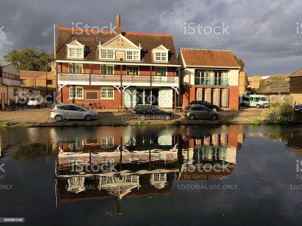 River Cam boathouse, Cambridge, UK stock photo