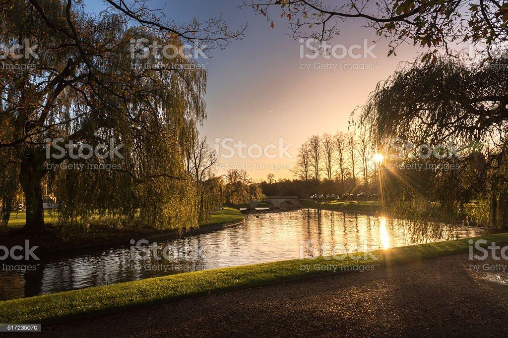 River Cam in Evening, Cambridge, UK stock photo