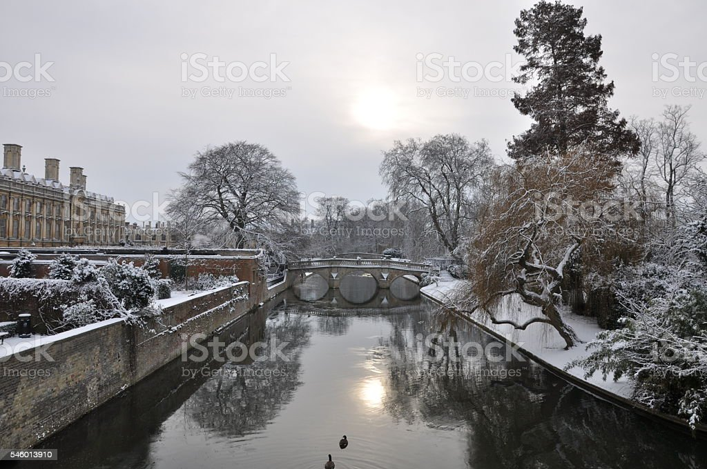 River Cam in winter with snow stock photo