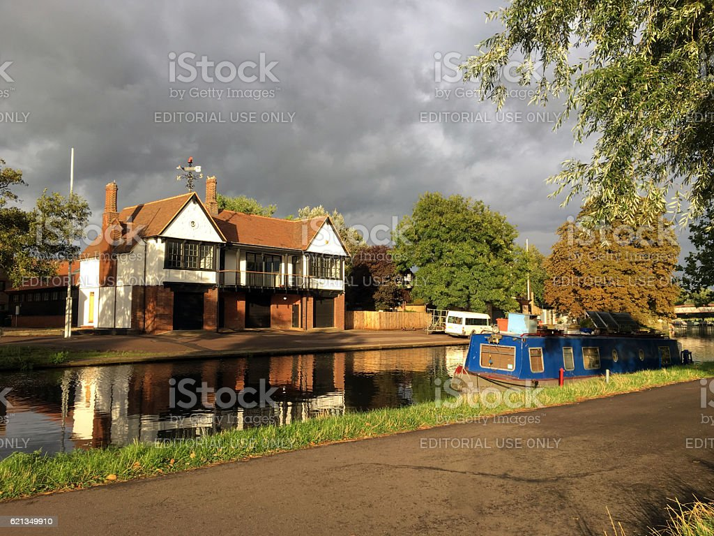 River Cam with boathouse and boat, Cambridge, UK stock photo