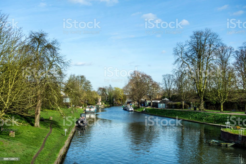 river cam with house boats in Cambridge stock photo
