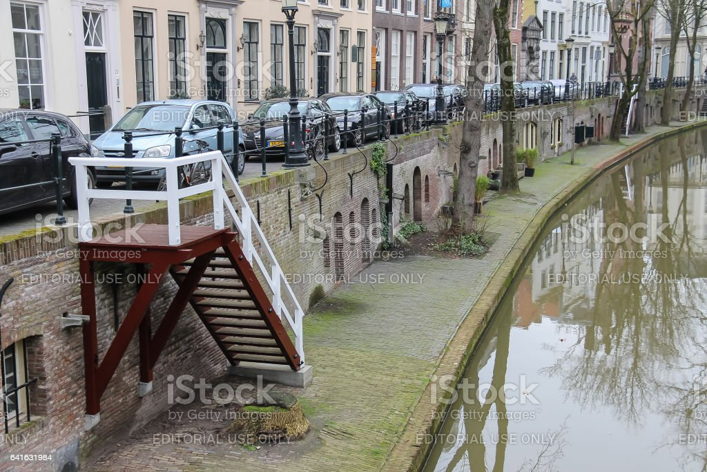 River canal in in historic centre of Utrecht, the Netherlands stock photo