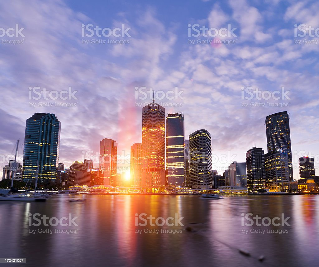 River City Sunset stock photo