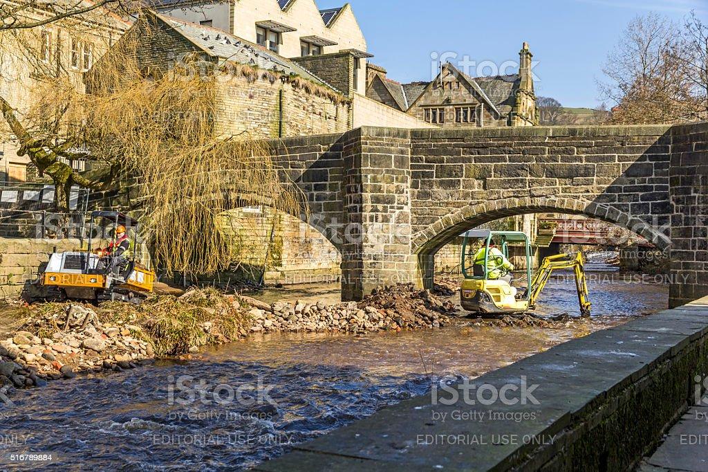 River Clearing, Hebden Bridge stock photo