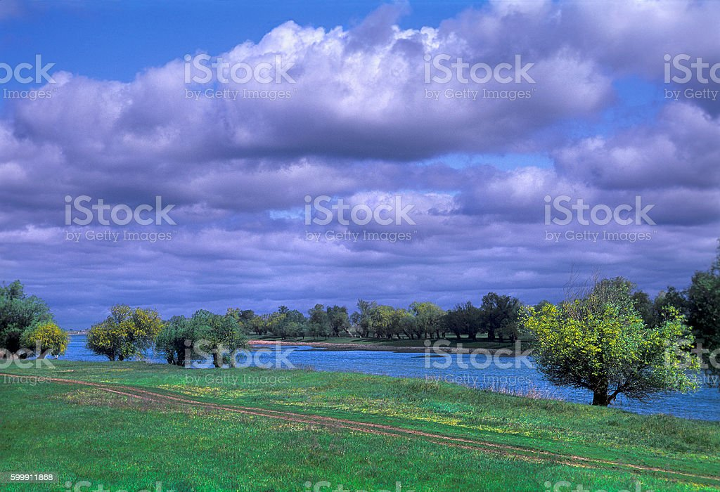 River, clouds, trees, green grass stock photo