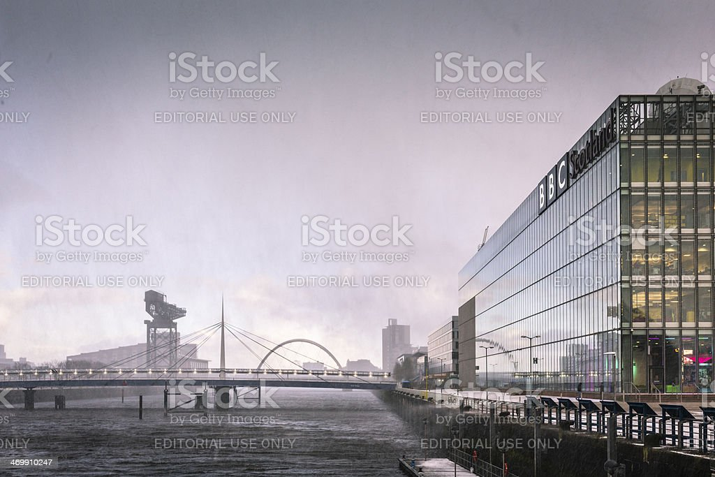 River Clyde in a Snow Shower stock photo
