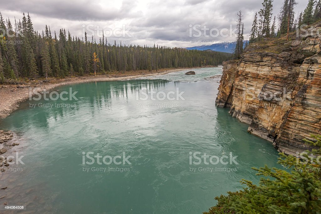 River connected to Athabasca Falls, Jasper, Canada stock photo