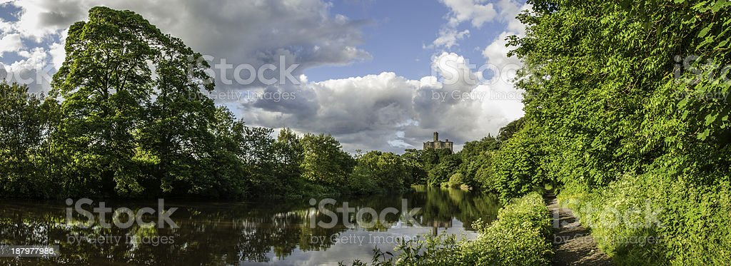 River Coquet and Warkworth Castle stock photo