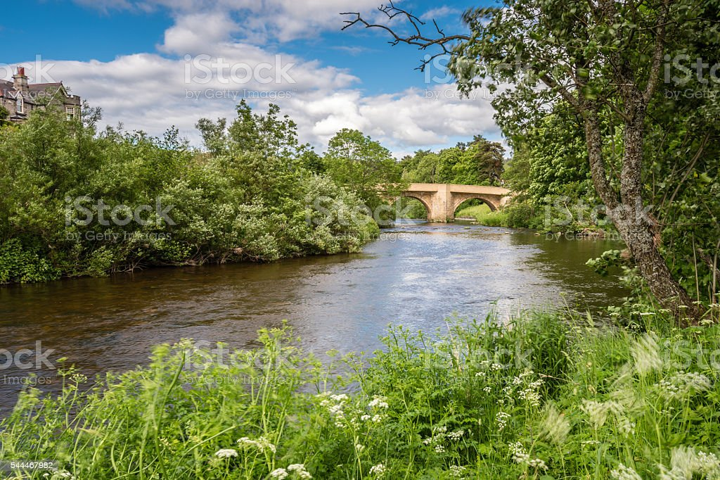 River Coquet at Rothbury stock photo